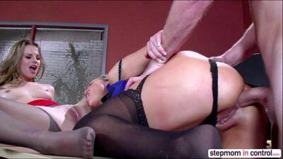 Hot Brunette Jillian Janson And Abbey Brooks In Anal Threesome Sex