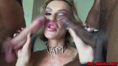 Glamorous MILF Elen Million strips and pokes her holes with a glass dildo