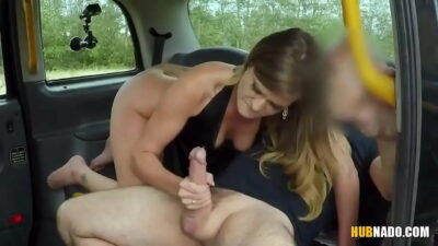 Taxi driver plays with Honour May's ass while fucking her