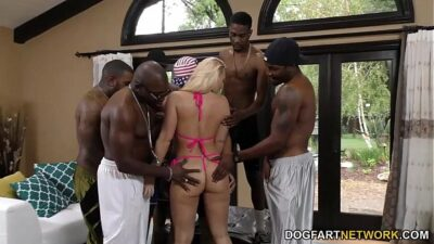 AJ Applegate gets gangbanged and ass fucked by black dudes
