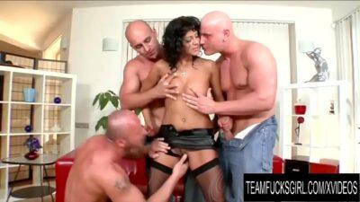 Team Fucks Girl – Cock Hungry Tera Joy Gets a DP Gangbang by Three Bald Men